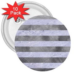 Stripes2white Marble & Silver Paint 3  Buttons (10 Pack)  by trendistuff