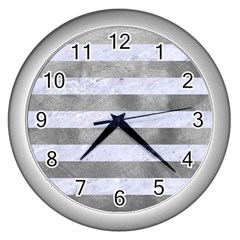 Stripes2white Marble & Silver Paint Wall Clocks (silver)  by trendistuff