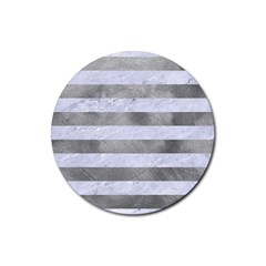 Stripes2white Marble & Silver Paint Rubber Coaster (round)