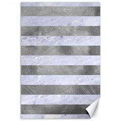 Stripes2white Marble & Silver Paint Canvas 12  X 18   by trendistuff