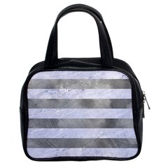 Stripes2white Marble & Silver Paint Classic Handbags (2 Sides) by trendistuff
