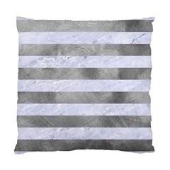 Stripes2white Marble & Silver Paint Standard Cushion Case (one Side) by trendistuff