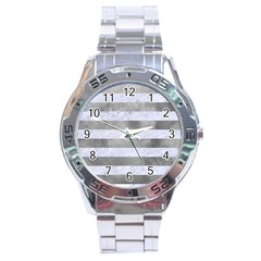 Stripes2white Marble & Silver Paint Stainless Steel Analogue Watch by trendistuff