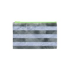 Stripes2white Marble & Silver Paint Cosmetic Bag (xs) by trendistuff