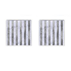 Stripes1 White Marble & Silver Paint Cufflinks (square) by trendistuff