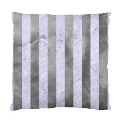 Stripes1 White Marble & Silver Paint Standard Cushion Case (one Side) by trendistuff