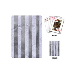 Stripes1 White Marble & Silver Paint Playing Cards (mini)  by trendistuff