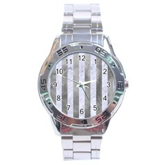 Stripes1 White Marble & Silver Paint Stainless Steel Analogue Watch by trendistuff