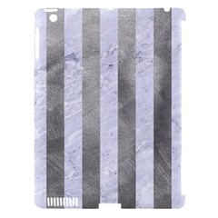 Stripes1 White Marble & Silver Paint Apple Ipad 3/4 Hardshell Case (compatible With Smart Cover) by trendistuff