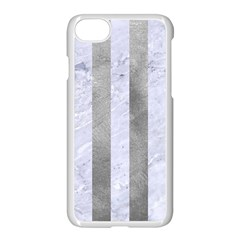 Stripes1 White Marble & Silver Paint Apple Iphone 7 Seamless Case (white) by trendistuff