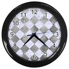 Square2 White Marble & Silver Paint Wall Clocks (black) by trendistuff