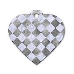 Square2 White Marble & Silver Paint Dog Tag Heart (one Side)