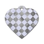 SQUARE2 WHITE MARBLE & SILVER PAINT Dog Tag Heart (One Side) Front