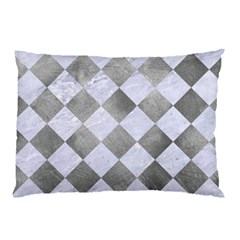 Square2 White Marble & Silver Paint Pillow Case by trendistuff