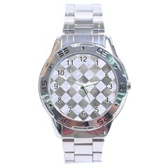 Square2 White Marble & Silver Paint Stainless Steel Analogue Watch by trendistuff