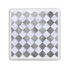Square2 White Marble & Silver Paint Memory Card Reader (square)  by trendistuff