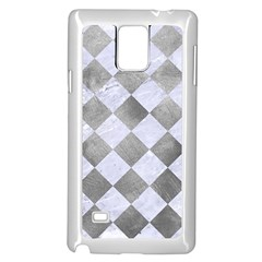 Square2 White Marble & Silver Paint Samsung Galaxy Note 4 Case (white) by trendistuff