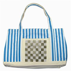 Square1 White Marble & Silver Paint Striped Blue Tote Bag