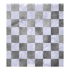 Square1 White Marble & Silver Paint Shower Curtain 66  X 72  (large)  by trendistuff