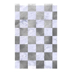 Square1 White Marble & Silver Paint Shower Curtain 48  X 72  (small)  by trendistuff