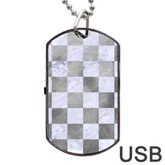 Square1 White Marble & Silver Paint Dog Tag Usb Flash (one Side) by trendistuff