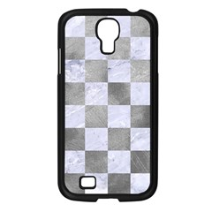 Square1 White Marble & Silver Paint Samsung Galaxy S4 I9500/ I9505 Case (black) by trendistuff
