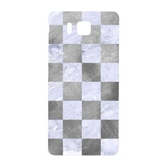 Square1 White Marble & Silver Paint Samsung Galaxy Alpha Hardshell Back Case by trendistuff