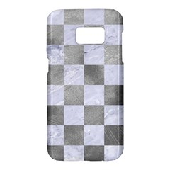 Square1 White Marble & Silver Paint Samsung Galaxy S7 Hardshell Case  by trendistuff