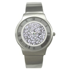 Skin5 White Marble & Silver Paint (r) Stainless Steel Watch by trendistuff