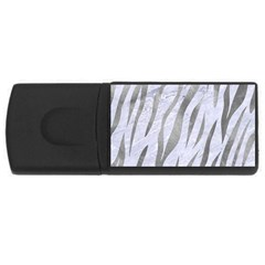 Skin3 White Marble & Silver Paint (r) Rectangular Usb Flash Drive by trendistuff