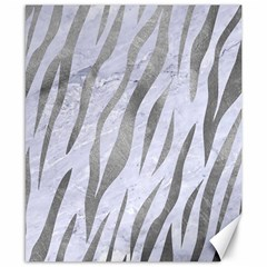 Skin3 White Marble & Silver Paint (r) Canvas 8  X 10  by trendistuff