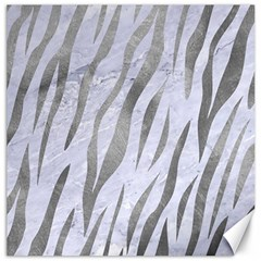 Skin3 White Marble & Silver Paint (r) Canvas 12  X 12   by trendistuff
