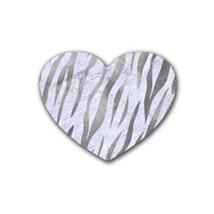 Skin3 White Marble & Silver Paint (r) Heart Coaster (4 Pack)  by trendistuff