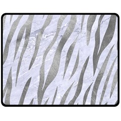 Skin3 White Marble & Silver Paint (r) Fleece Blanket (medium)  by trendistuff