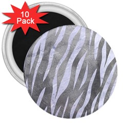 Skin3 White Marble & Silver Paint 3  Magnets (10 Pack)  by trendistuff