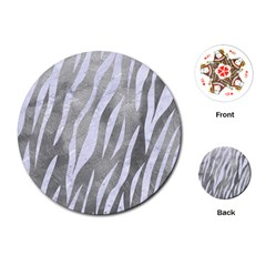 Skin3 White Marble & Silver Paint Playing Cards (round)  by trendistuff