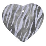 SKIN3 WHITE MARBLE & SILVER PAINT Heart Ornament (Two Sides) Back