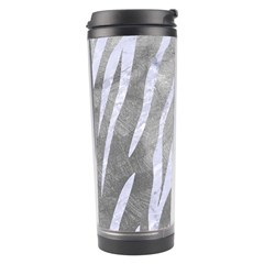 Skin3 White Marble & Silver Paint Travel Tumbler by trendistuff
