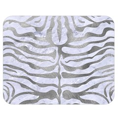 Skin2 White Marble & Silver Paint (r) Double Sided Flano Blanket (medium)  by trendistuff