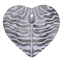 Skin2 White Marble & Silver Paint Ornament (heart) by trendistuff