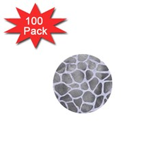 Skin1 White Marble & Silver Paint (r) 1  Mini Buttons (100 Pack)  by trendistuff
