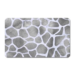 Skin1 White Marble & Silver Paint (r) Magnet (rectangular) by trendistuff