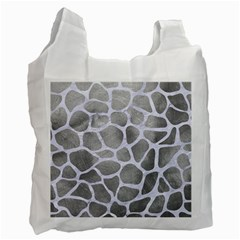 Skin1 White Marble & Silver Paint (r) Recycle Bag (two Side)  by trendistuff