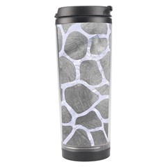 Skin1 White Marble & Silver Paint (r) Travel Tumbler by trendistuff