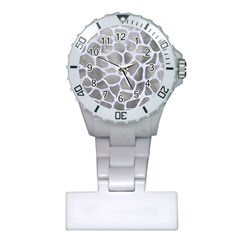 Skin1 White Marble & Silver Paint (r) Plastic Nurses Watch by trendistuff