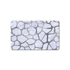Skin1 White Marble & Silver Paint Magnet (name Card) by trendistuff