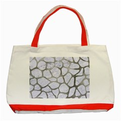 Skin1 White Marble & Silver Paint Classic Tote Bag (red) by trendistuff