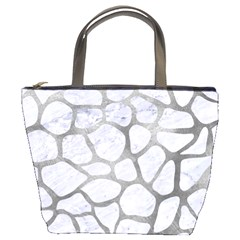 Skin1 White Marble & Silver Paint Bucket Bags by trendistuff