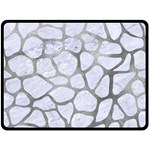SKIN1 WHITE MARBLE & SILVER PAINT Fleece Blanket (Large)  80 x60 Blanket Front