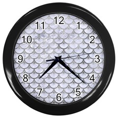 Scales3 White Marble & Silver Paint (r) Wall Clocks (black) by trendistuff